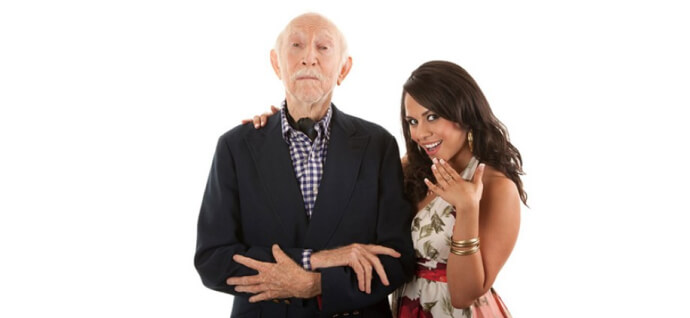 Old man with a young woman