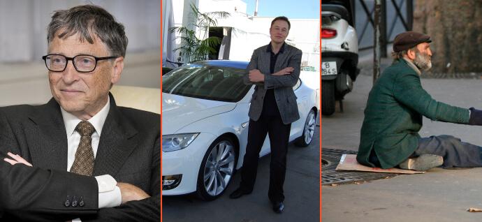 Bill Gates & Elon Musk & homeless guy