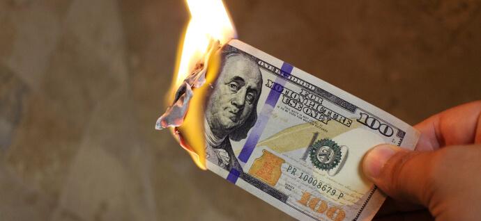 The burning money