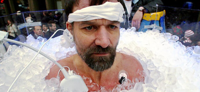 Man in ice bath