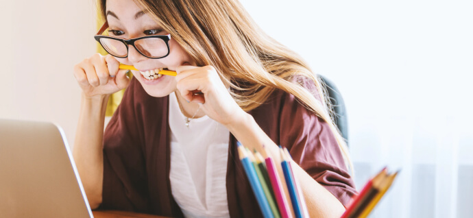 Girl with a pens