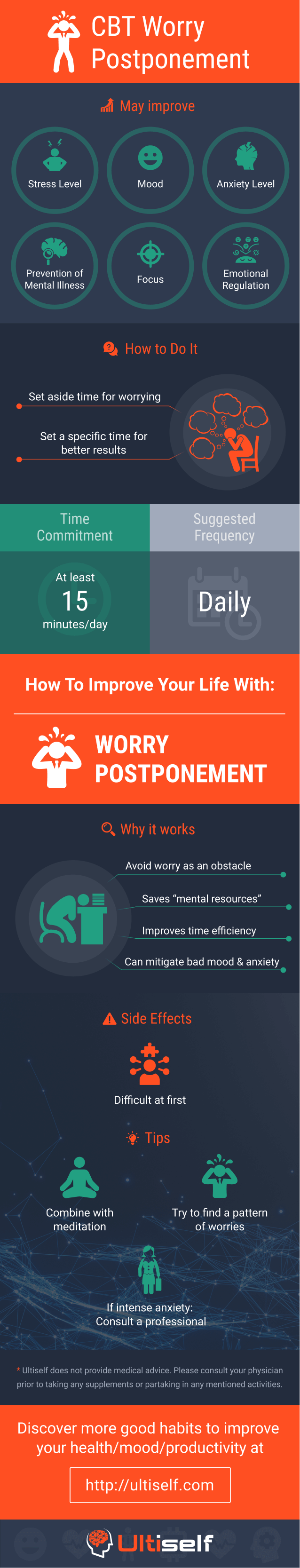 CBT Worry Postponement infographic