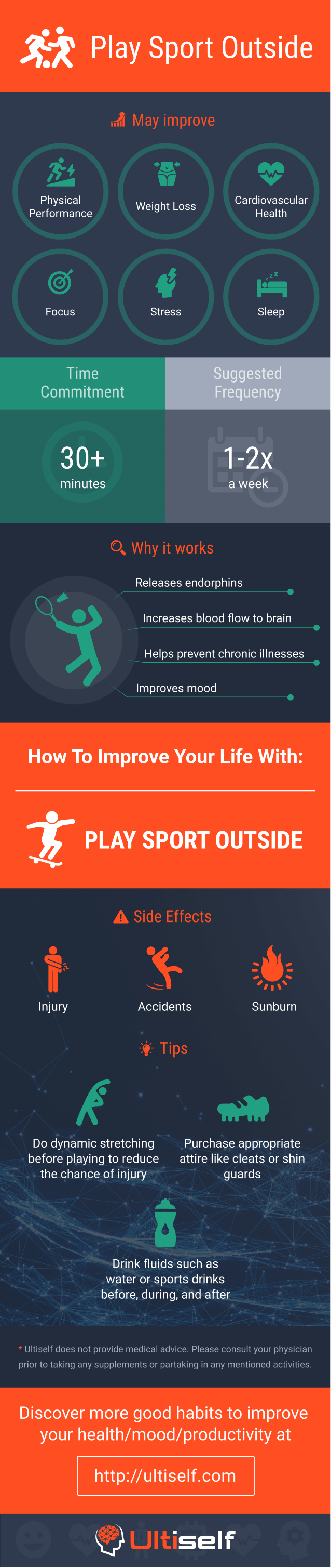 Play sport outside infographic