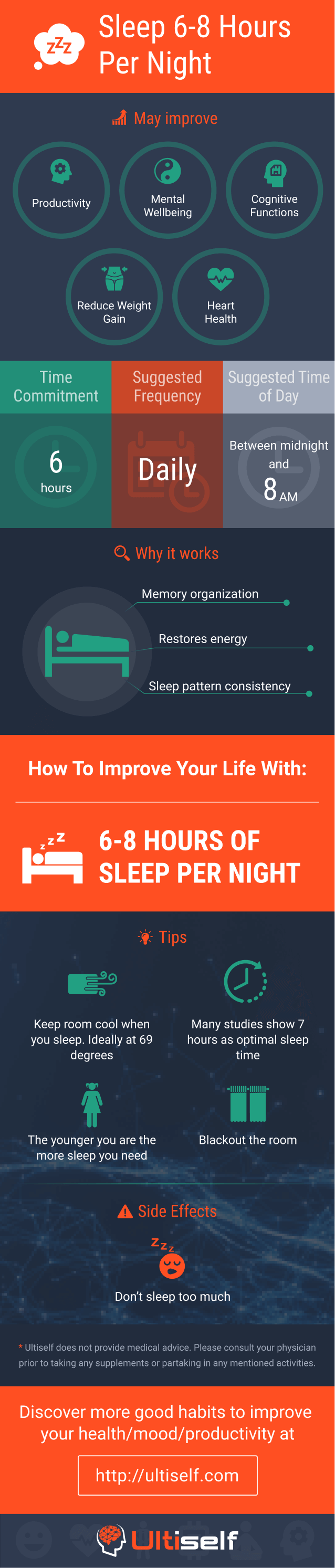 Sleep between 6-8 hours per night infographic