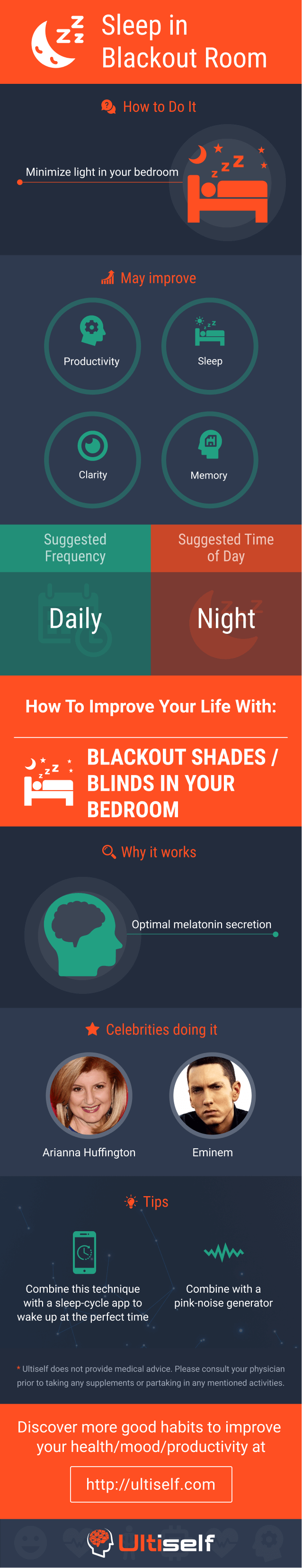 Sleep in blackout room infographic